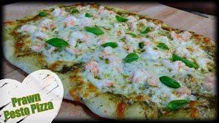 How to make Prawn Pesto Pizzaطريقة تحضير بيتزا بالبيستو والقريدس الروبيان
