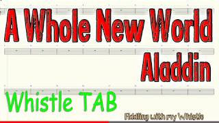 A Whole New World - Aladdin - Tin Whistle - Play Along Tab Tutorial