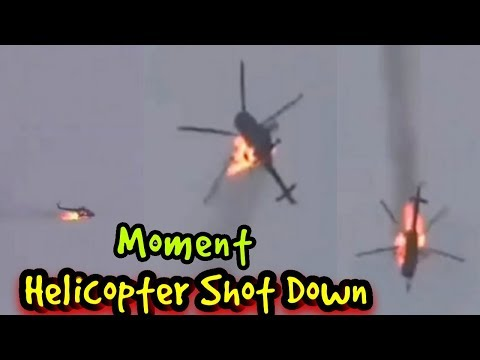 Moment Assad Regime Helicopter is Struck by Missile over Syria.