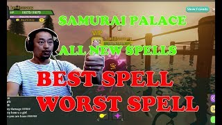 REVIEW ALL SPELLS IN SAMURAI PALACE ROBLOX DUNGEON QUEST. BES SPELL, WORST SPELL.
