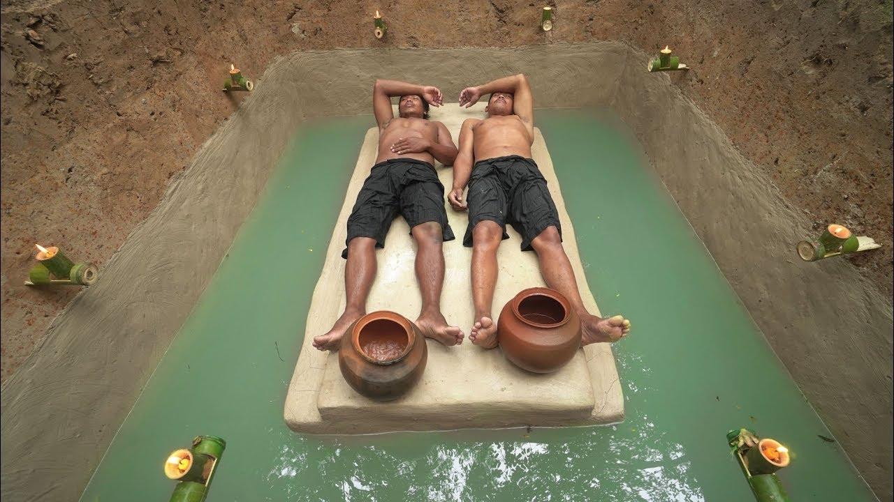 Building The Most Secret Underground House Around Water Slide Pool