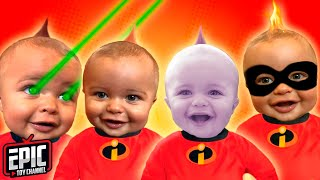 INCREDIBLES 2 Jack Jack Needs Baby Sitter Pretend Play with Elastagirl Mr Incredible and Toy Hunt
