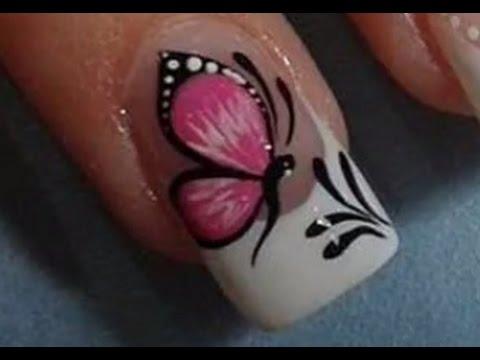 Diseño De Uñas 865 Mariposas Sobre Diseño Simple Y Elegante Youtube