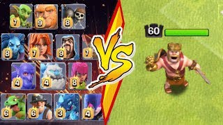 ALL MAX TROOPS vs. MAX BARBARIAN KING - Clash Of Clans | Level 60 Gladiator Barbarian King