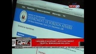 QRT: 100,000 passport appointment slots, binuksan ng DFA