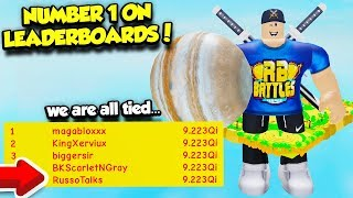 I GOT NUMBER ONE ON THE LEADERBOARDS IN LIFTING SIMULATOR AND BECAME THE MAX STAGE!! (Roblox)