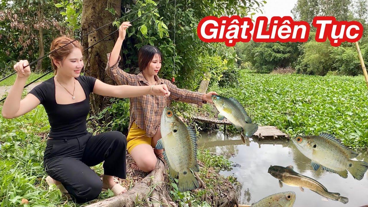 Câu Cá Rô Đồng Theo Sông 2 Gái Xinh Giật Liên Tục Toàn Cá Rô Khủng