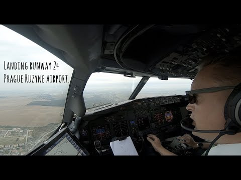 Approach and landing runway 24 Prague Ruzyne airport (PRG LK