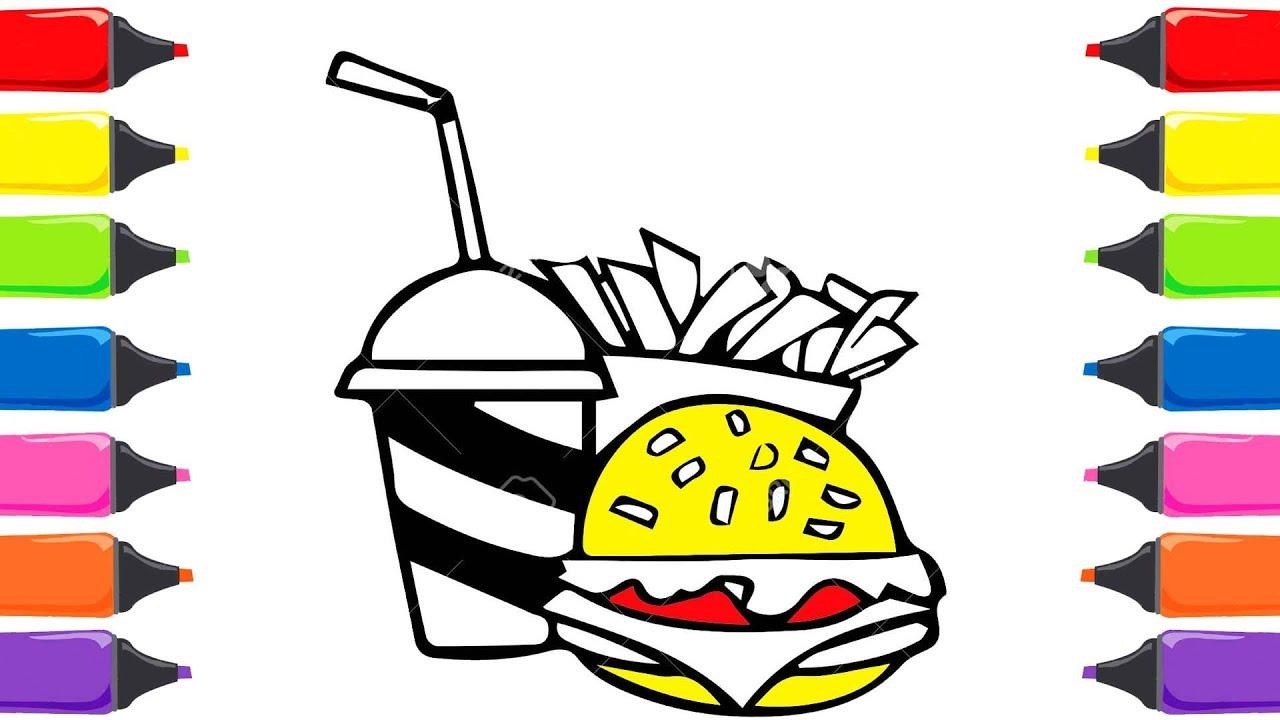 Hamburger Patates Cola çizme Ve Boyama Sayfası Renkleri öğreniyorum