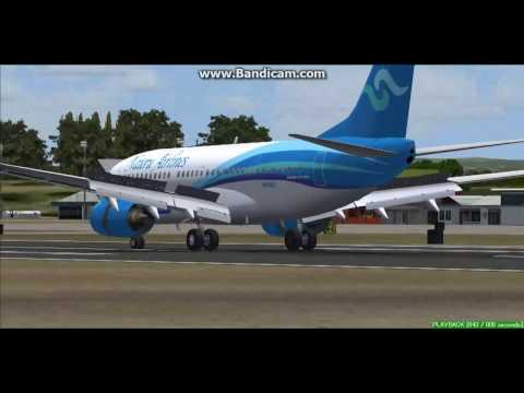 Nauru Airlines B737 Honiara International Airport AGGH Landing FS9
