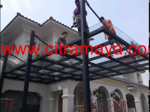 kanopi baja ringan atap kaca proyek alam sutra tangerang youtube