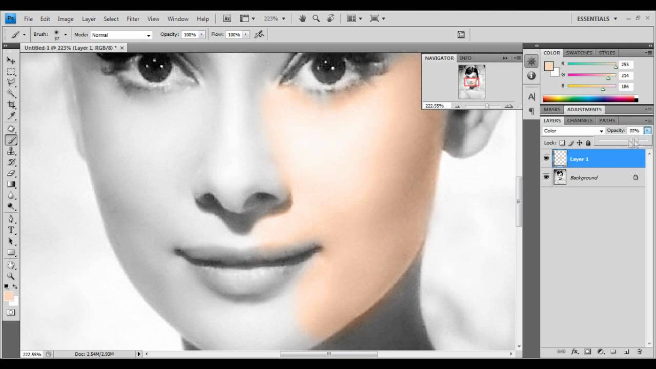 photoshop tutorial turn a black white photo into a colored photo - Turn Black And White Photo Into Color