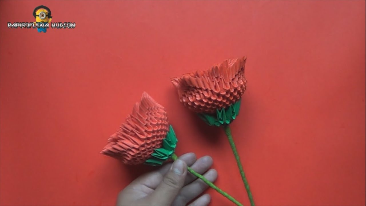 Origami 3d Rosa Youtube