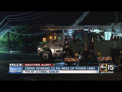 Crews work to fix downed power lines