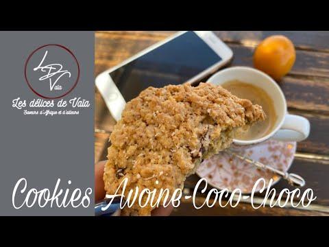 Download Cookies Avoine-Coco-Choco✔️Chocolate coconut oat cookies✔️#lesdelicesdevaia #cookies #chocolat #coco