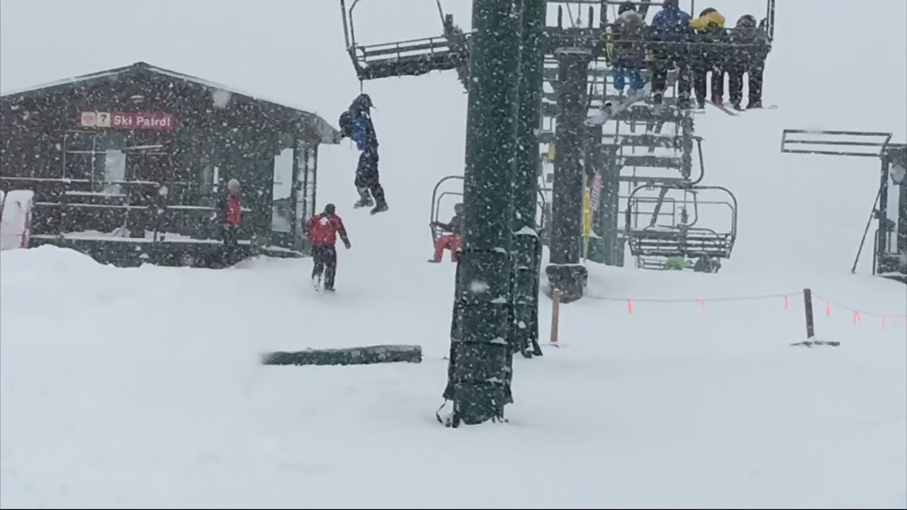 chair lift accident heavy duty plastic adirondack chairs boy dangles from ski after backpack gets stuck youtube