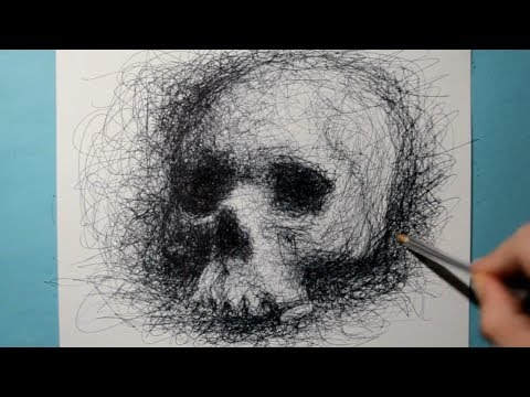 Drawing a Skull / Ballpoint Biro Pen Study / Scribble Art Therapy / Day 042
