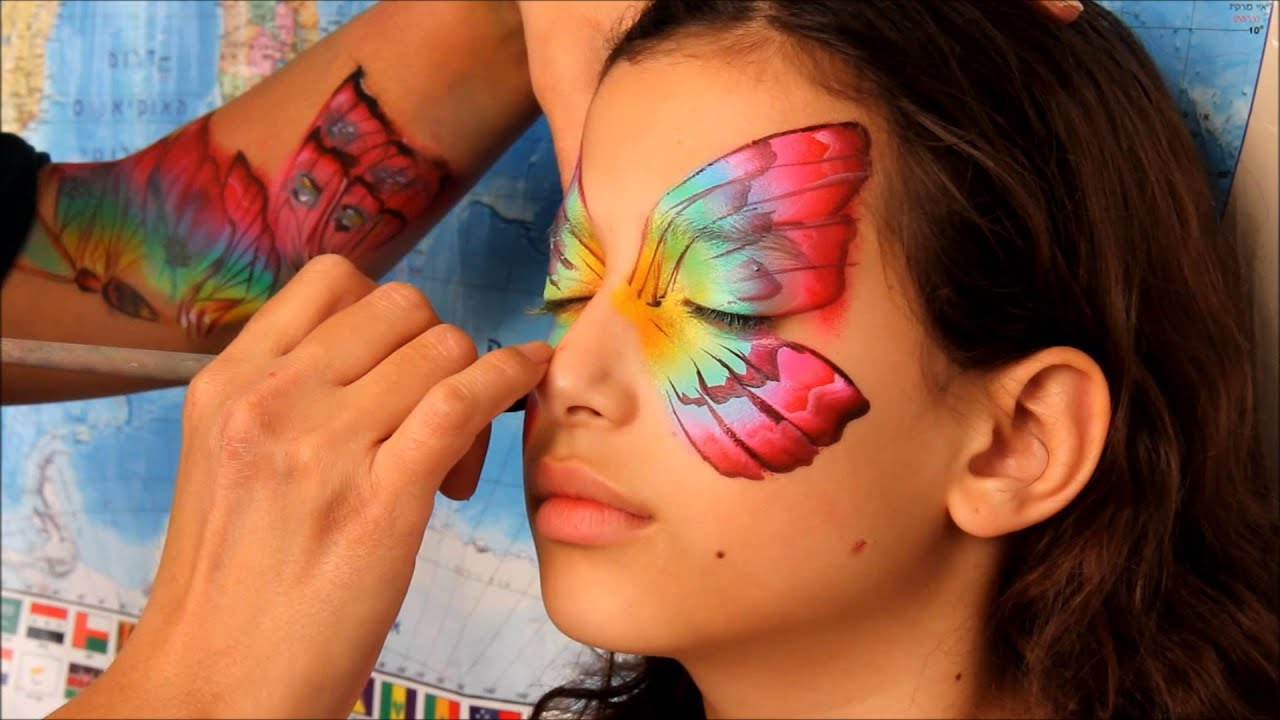 Butterfly face painting design nurit pilchin youtube - Maquillage simple enfant ...