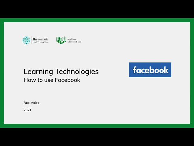 Learning Technologies: How to use Facebook - AKEB