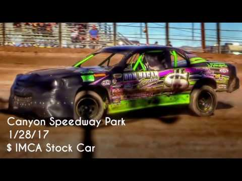 Canyon Speedway Park IMCA Stock Car Main 1/28/17