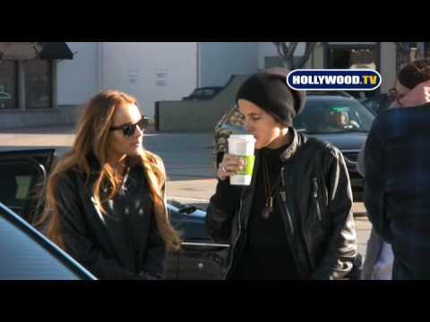 Lindsay Lohan , Samantha Ronson and Patrick on Beverly Blvd