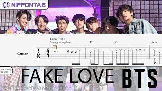 Gambar cover 【Guitar TAB】〚BTS〛방탄소년단 - Fake love (fingerstyle) 기타 / ギター tab譜