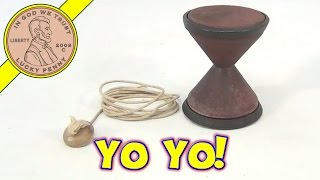 Antique Primitive Hand Made Wood Diabolo Yo-Yo Toy