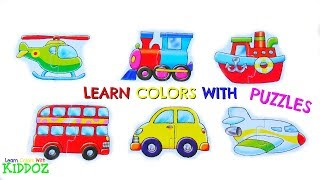 Learn Colors With TRANSPORT PUZZLES