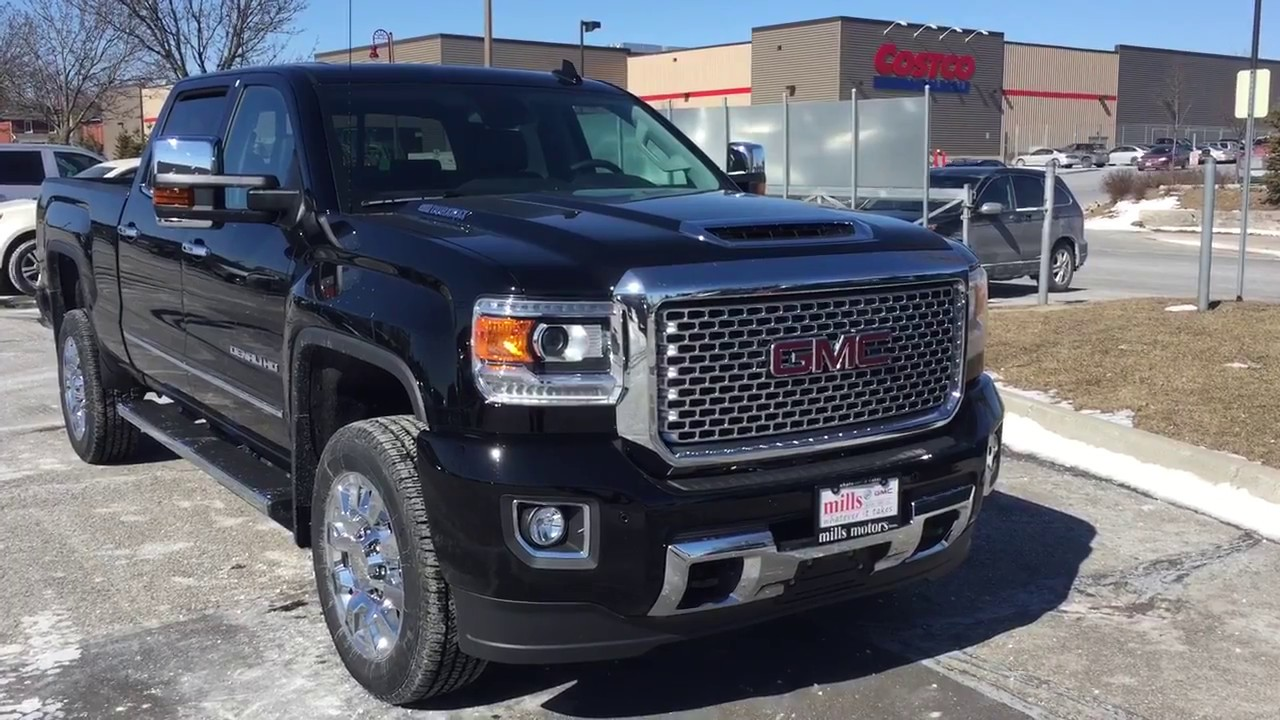 2017 gmc sierra 2500hd denali crew cab diesel engine sunroof black oshawa on stock 170593 youtube. Black Bedroom Furniture Sets. Home Design Ideas