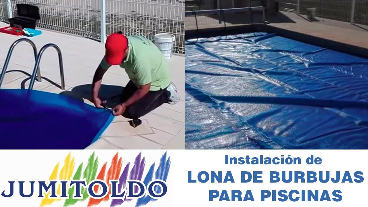 Instalaci n de una lona de burbujas para piscina youtube for Burbuja piscina