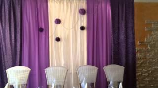 Украшение зала в фиолетовом цвете  Свадебный декор  Оформление зала Константин