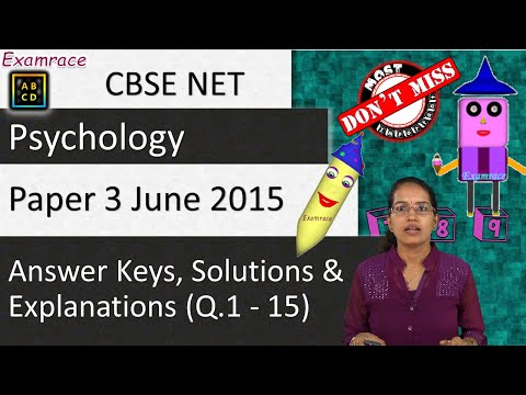 CBSE NET June 2015 Psychology Paper 3 (Q 1-15): Answer Keys