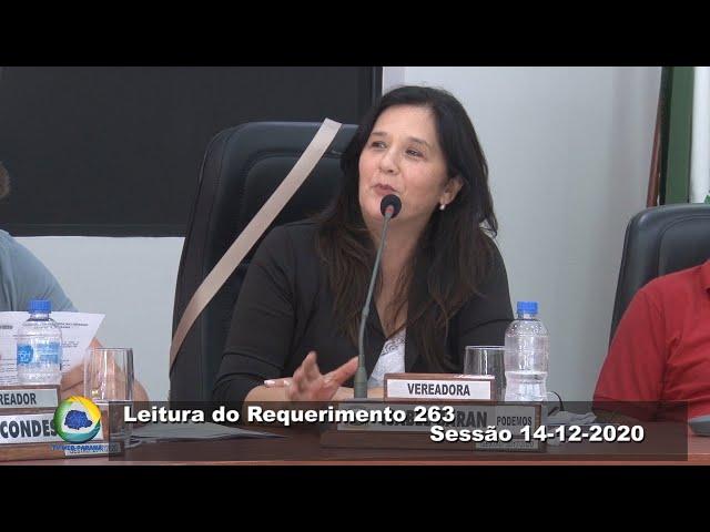 Vereadora Isabel Baran  podemos Leitura Requerimento 263 Sessão 14 12 2020