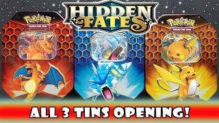 Gyarados 3 Tin Lot Pokemon Hidden Fates Charizard Raichu