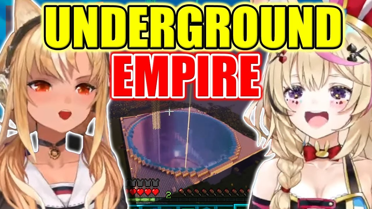 【ENG Sub】Flare & Polka REACT to Aqua's UNDERGROUND EMPIRE in Minecraft - Shiranui Kensetsu Hololive