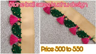 Saree Kuchu #117/ Stone Ball Slanting Petal Arch Saree Kuchu Design Simple Saree Kuchu Design