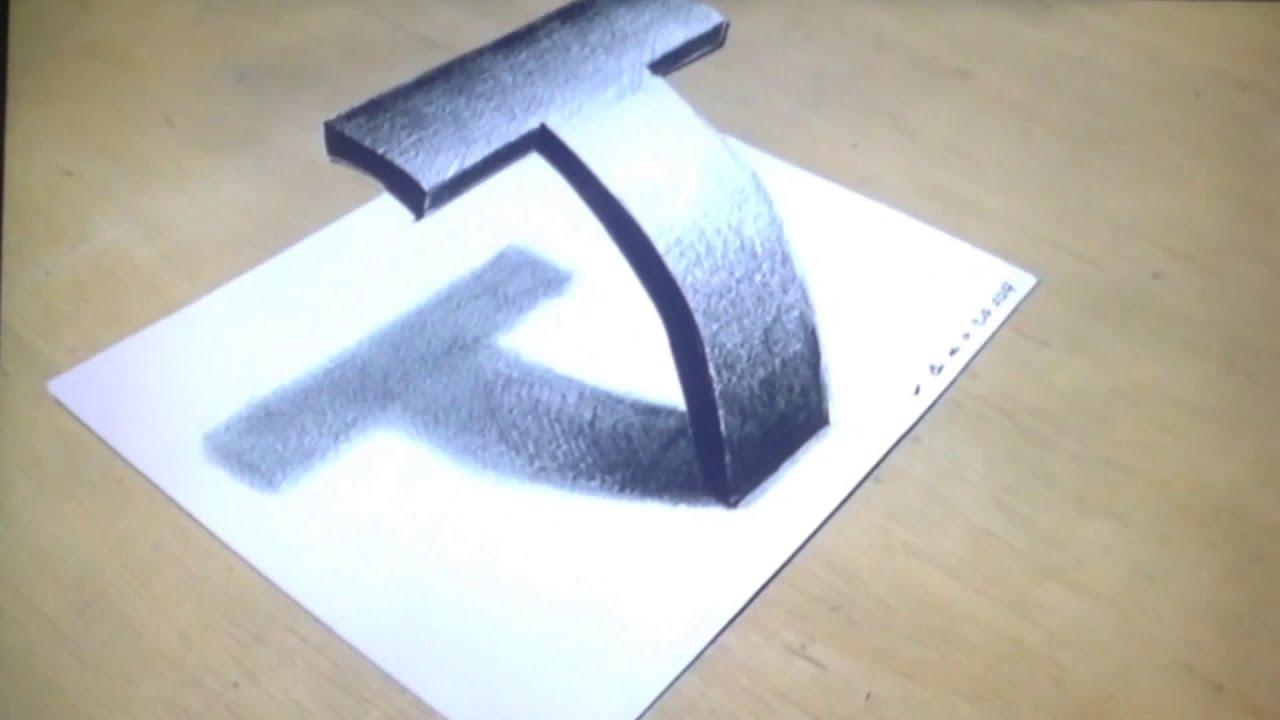 Cách vẽ hinh 3d chữ T
