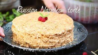 Russian Napoleon torte with condensed milk filling
