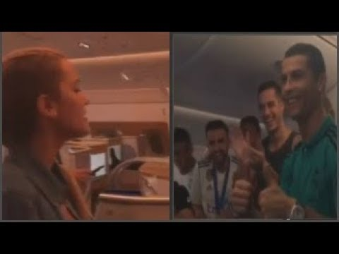 Mari Luz Salgado sings for world champions Real Madrid on flight home
