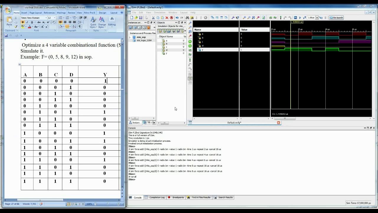 Simulation of VHDL Code for 4 Variable Combinational Circuit
