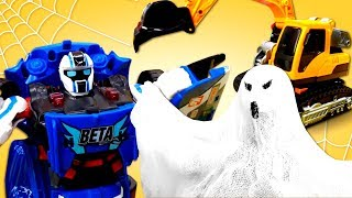 Видео про машинки и роботов в Хэллоуин! Тобот Бета нашел привидений!