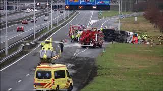 Ernstig ongeval met tankwagen op de A15 bij Gorinchem