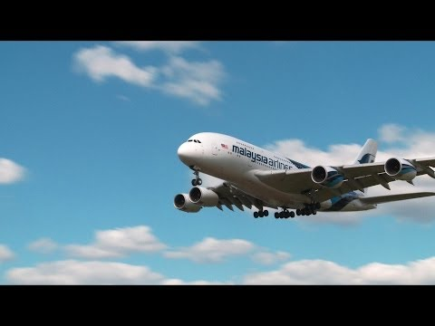 Airbus A380 Landing - Malaysia Airlines Heathrow - Free Stock Footage Videvo.net
