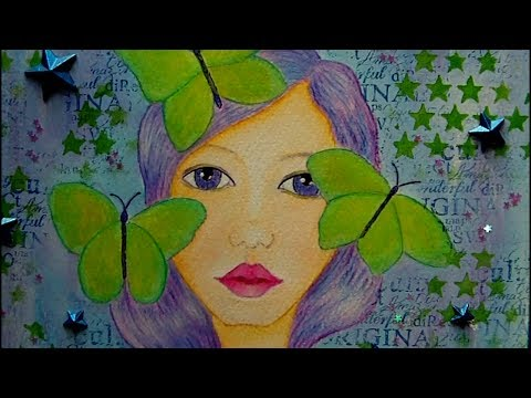 Mixed Media Art Canvas - Butterfly Girl