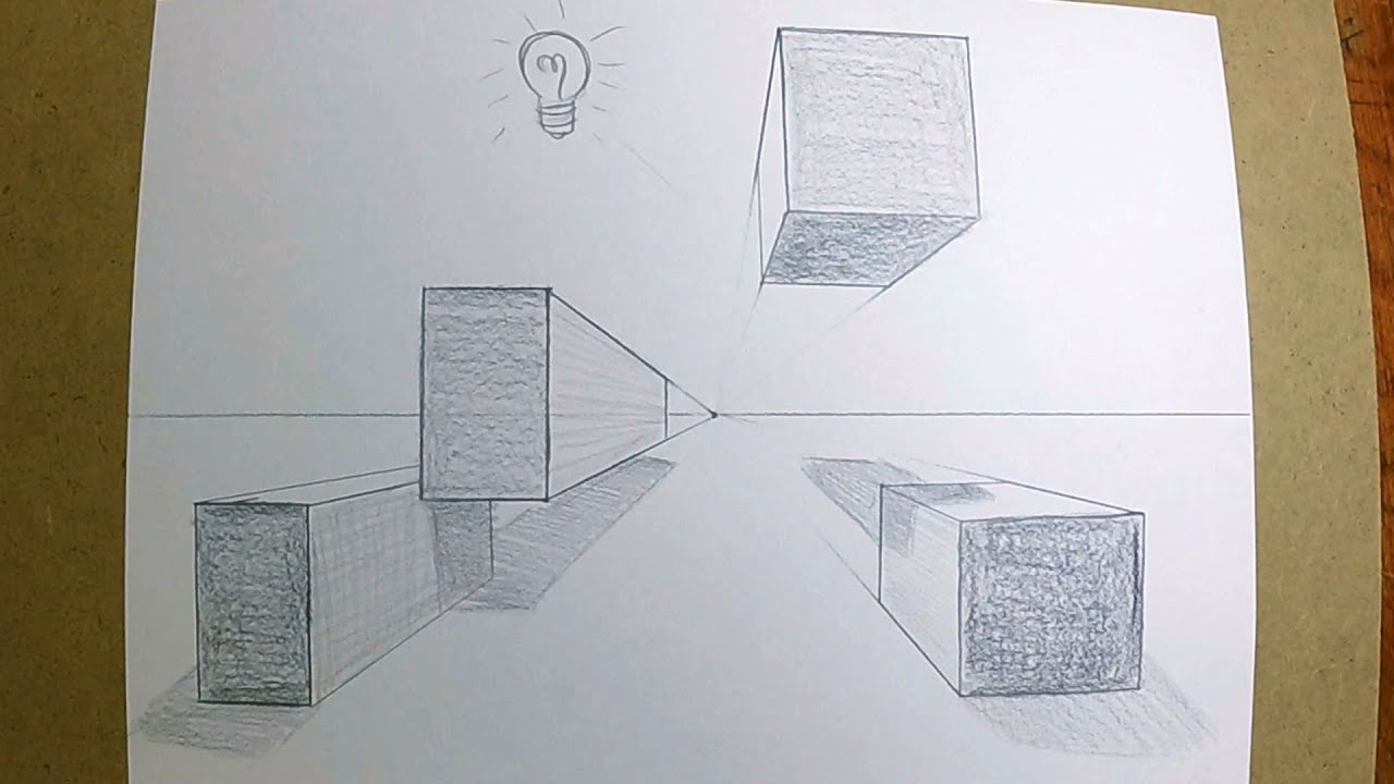 How To Draw Boxes In 1 Point Perspective Youtube