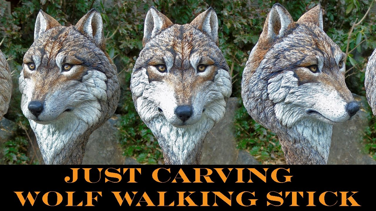 Quot Just Carving Quot A Wolf Head Walking Stick Youtube