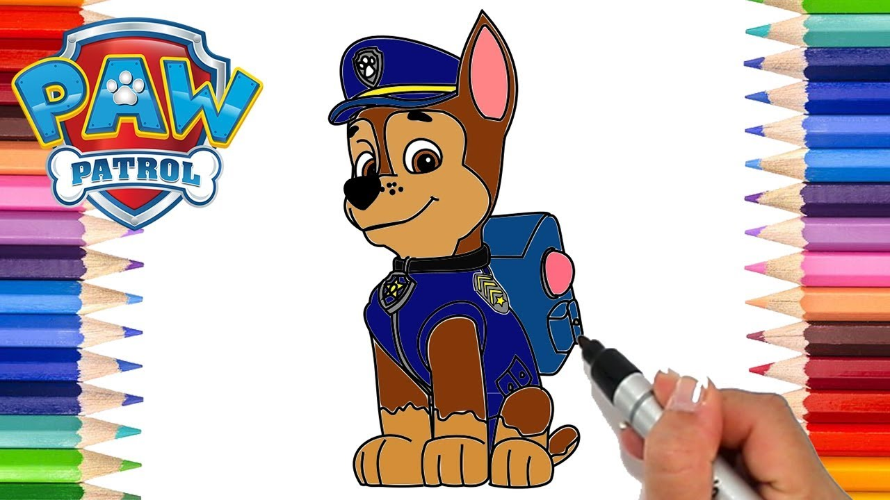 How To Draw Paw Patrol Chase Coloring Pages For Kids Learn To