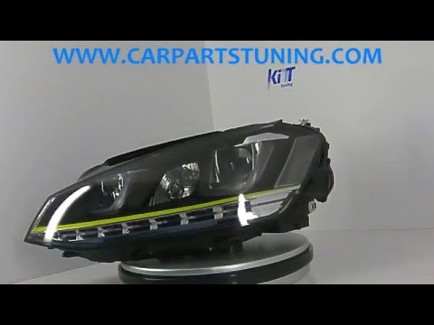Headlights 3D LED DRL Volkswagen Golf 7 VII (2012-up) Yellow R400 Look LED Turn Light by KITT