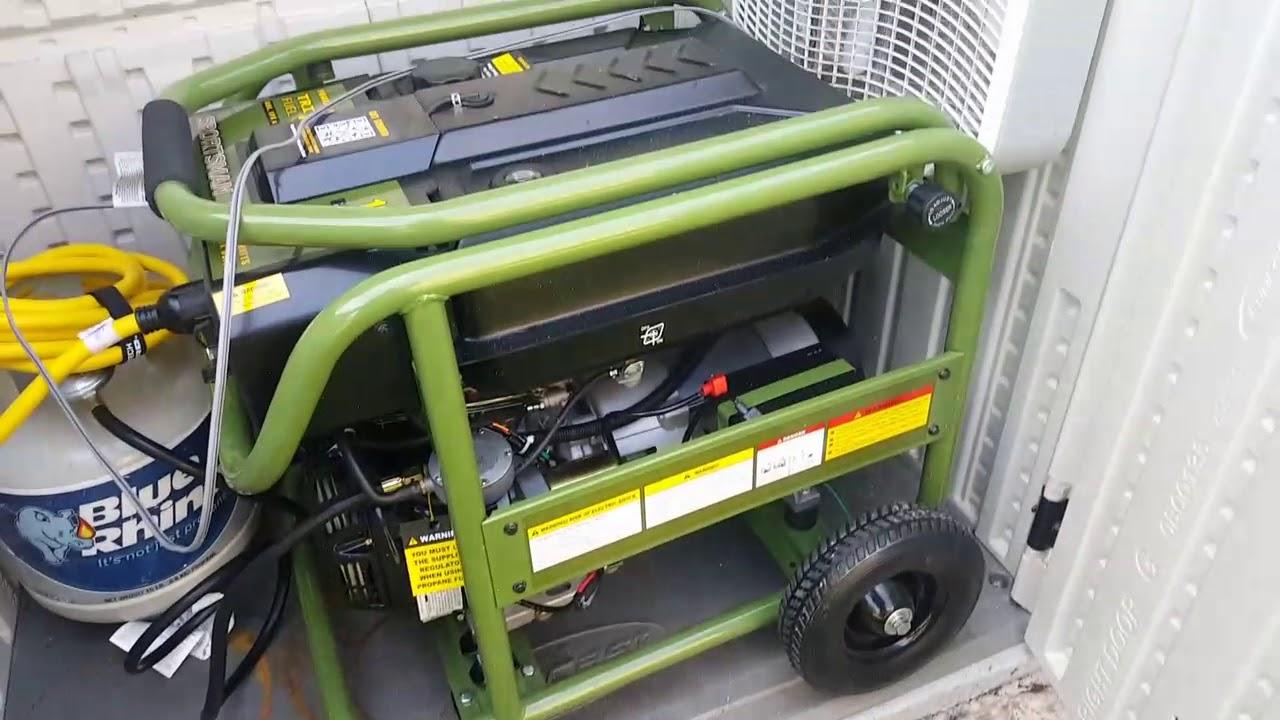 Sportsman 10000 watt tri fuel Generator test run #1