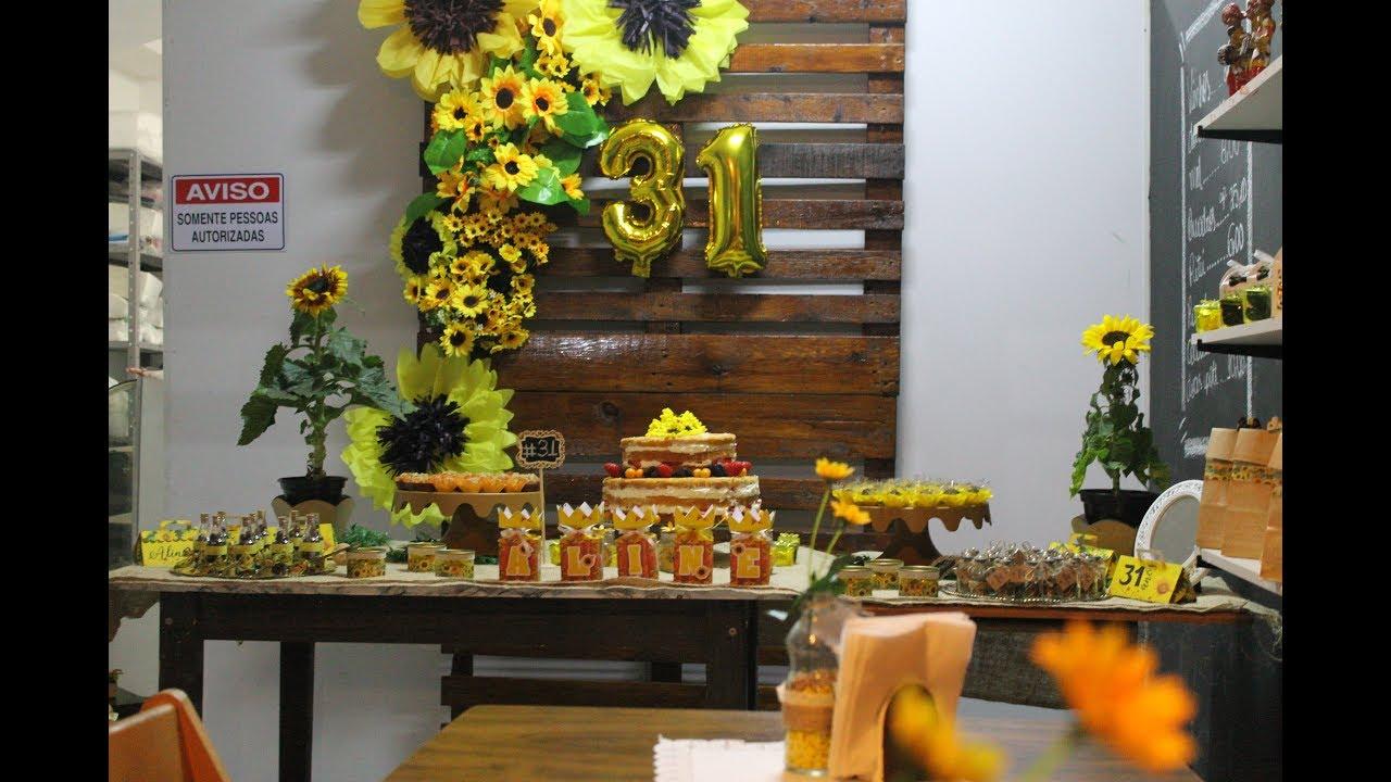 """u2665MINHA FESTA 31 ANOS TEMA GIRASSOL""""O grande dia!"""" Aline Camargo YouTube # Decoração De Festa De Aniversario Girassol"""
